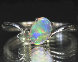 MULTI FLASH CRYSTAL  OPAL 18K GOLD RING SIZE 5.5 CJ1694