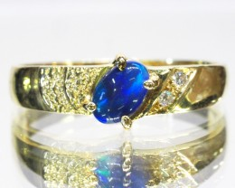 GREEN FIRE BLACK OPAL 18K YELLOW GOLD RING SIZE 7.5 CJ1695