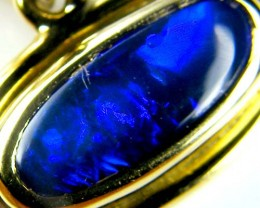 MIDNIGHT BLUE FLASH BLACK OPAL 18K GOLD PENDANT CJ1672