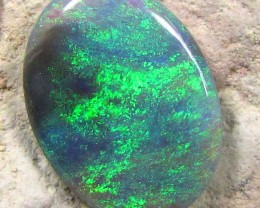 OLIVE GREEN SHIMMER FLASH CABOCHON  BLACK OPAL  1.5cts  M388