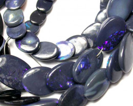 BLACK OPAL BEADS FLAT OVAL DRILLED  100.60 CTS AS-A2013