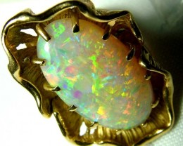 GEM GRADE WHITE OPAL CRYSTAL 18K RING GOLD 68.98  CTS
