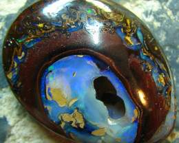 NATURAL HOLE IN THIS PIECE BUT I HAVE SEEN CREATIVE JEWELERS PLACE ANOTHER GEMSTONE IN SO MAKE A VERY UNIQUE PIECE