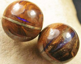 TWO BOULDER OPAL BEADS  385 CARATS    JO 1807