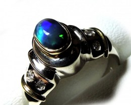 BLACK OPAL 18K WHITE GOLD RING SIZE 7 SCO1235