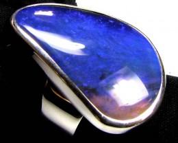 LARGE BLUE BLACK OPAL SILVER RING SIZE 7 CJ1775