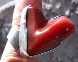 NATURAL BIG MEXICAN OPAL SILVER HEART RING SZ 7.5