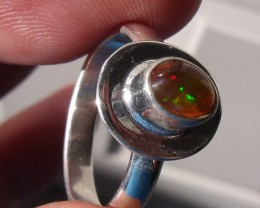 Size 8 Multicolor Fiery Opal Silver Ring New Jewelry