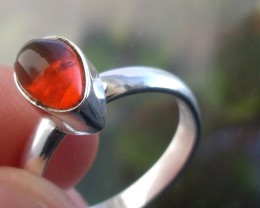 Size 8 Mexican Orange Fire Opal Silver Ring New Jewelry
