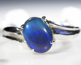 BLACK  OPAL 18K  GOLD 8 1/2 RING SIZE  CJ1204
