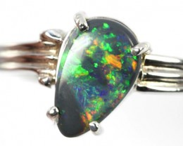 FREEFORM BLACK  OPAL 18K  GOLD 8 1/2 RING SIZE CJ1205
