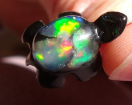NATURAL FIERY OPALS SILVER TURTLE PENDANT (002)