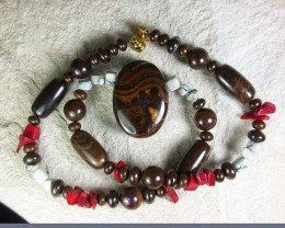 BOULDER OPAL MATRIX/GEMSTONE MIX NECKLACE GMS/01