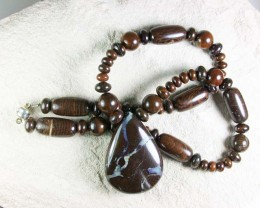 BOULDER OPAL MATRIX/GEMSTONE MIX NECKLACE GMS/13
