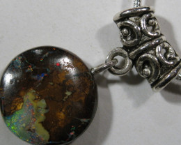 Bright Boulder Matrix Opal  with 925 Sterling Silveer Chain.