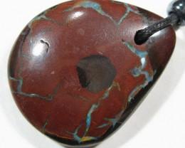 OpalWeb-Boulder Opal & Black Cord N/Lace- 49.25Cts