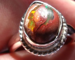MULTICOLOR MATRIX Mexican OPAL SILVER RING SIZE 8.25