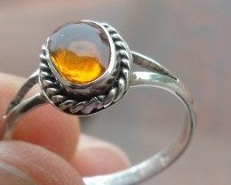 STERLING SILVER RING GENUINE ORANGE OPAL SZ 7