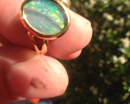 SOLID BOULDER OPAL 18K GOLD RING SIZE 6.5 A829