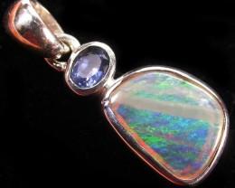 Solid Opal & Australian Sapphire Pendants