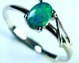GREEN FLASH DOUBLET OPAL 14K WHITE GOLD RING SIZE 6.5 MY82