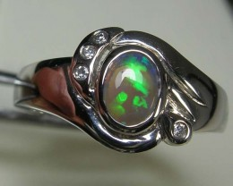 SOLID CRYSTAL OPAL 925 SILVER RING SIZE 9 #AR/51