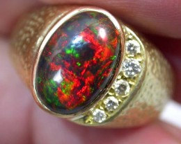 OPAL DEALERS 18 K BLACK OPAL RING SIZE 13