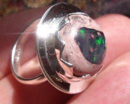 SZ 6.5 SILVER RING & NATURAL MATRIX OPAL