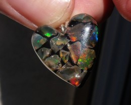FIERY OPALS SILVER LOVE HEART MOSAIC PENDANT (H005)