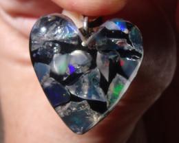 FIERY OPALS SILVER LOVE HEART MOSAIC PENDANT (H006)