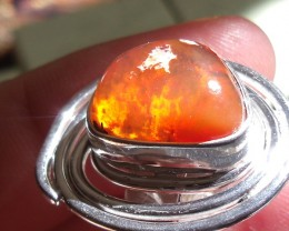 NATURAL MATRIX BOULDER ORANGE OPAL SILVER RING SIZE 5.5
