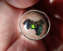 BLUE & GREEN MATRIX BOULDER OPAL GEM & SILVER RING SIZE 6.5
