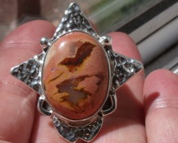 MATRIX BOULDER OPAL GEM SILVER HUGE STAR RING SIZE 5