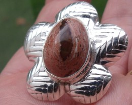 BOULDER OPAL GEM SILVER FLOWER RING
