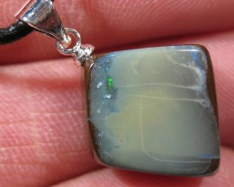 Boulder Opal with Sterling Silver Bail and Leather Necklace.