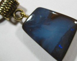 Boulder Opal pendant with Bail and Leather strap.