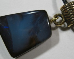 OpalWeb- Boulder Opal & Black Leather N/Lace- 31.85Cts
