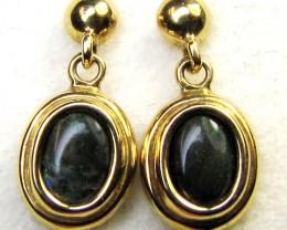 ANDAMOOKA BLACK  OPAL 18K  GOLD EARRINGS  CK 42