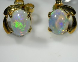 CRYSTAL OPAL 18K  GOLD EARRINGS  CK48