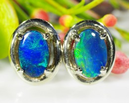 DOUBLET  OPAL 18K WHITE GOLD EARRINGS  CK 62
