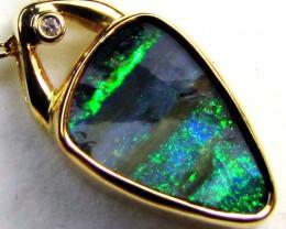 BOULDER  OPAL  18 K GOLD  PENDANTWITH DIAMOND   CK 84