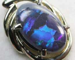 BLACK OPAL  18 K WHITE GOLD  PENDANT  CK 143
