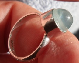 2.5 CARATS MEXICAN NATURAL OPAL GEM SILVER RING SIZE 5.5