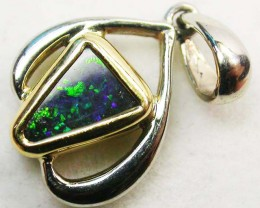 BOULDER OPAL PENDANT 18 K  WHITE/YELLOW GOLD   CK 154
