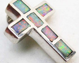INLAYED  OPAL PENDANT 18 K  WHITE GOLD   CK 173