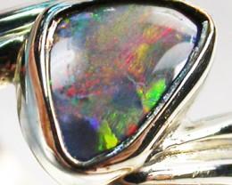 BLACK OPAL RING SIZE 5.5   18 K  WHITE GOLD   CK 213