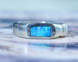 INLYED  OPAL RING SIZE 6.75   18 K  WHITE GOLD   CK 228