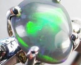 BLACK OPAL RING SIZE 4.25  18 K WHITE  GOLD   CK 258