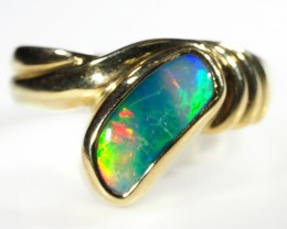 DOUBLET OPAL RING SIZE 6.5    18 K  GOLD   CK 261
