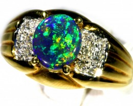 BLACK OPAL RING SIZE 7.5 18 K  GOLD   CK 263